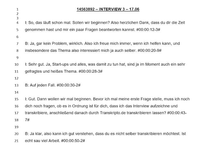 Transkript mit Zeilennummerierung
